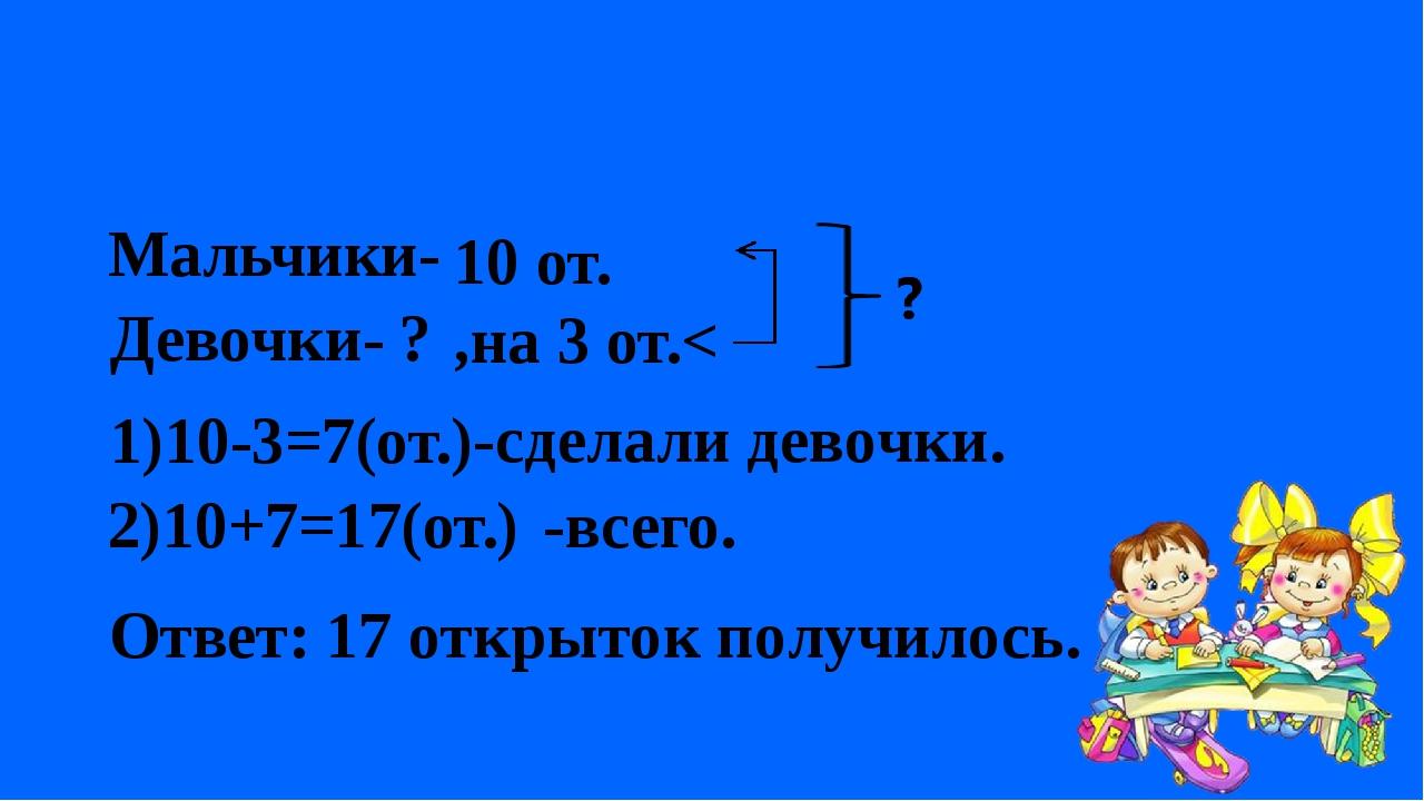 Мальчики- Девочки- 10 от. ? ,на 3 от.< 1)10-3=7(от.) 2)10+7=17(от.) -всего.