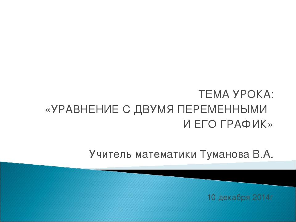 ТЕМА УРОКА: «УРАВНЕНИЕ С ДВУМЯ ПЕРЕМЕННЫМИ И ЕГО ГРАФИК» Учитель математики Т...