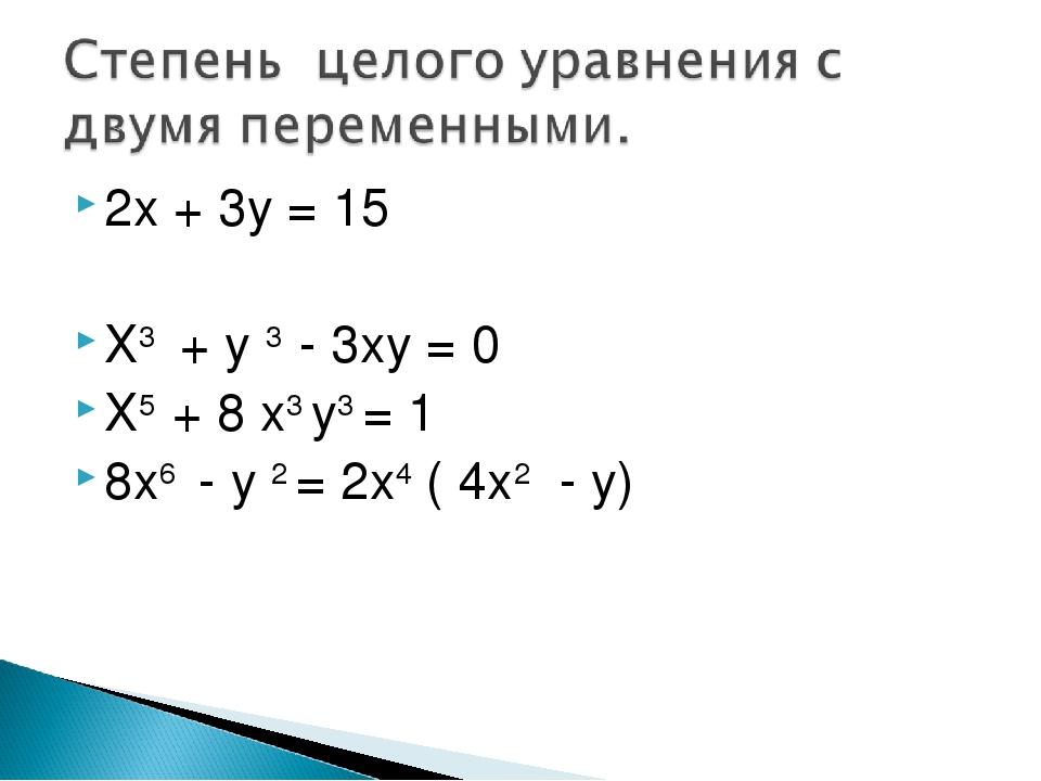 2х + 3у = 15 Х3 + у 3 - 3ху = 0 Х5 + 8 х3 у3 = 1 8х6 - у 2 = 2х4 ( 4х2 - у)
