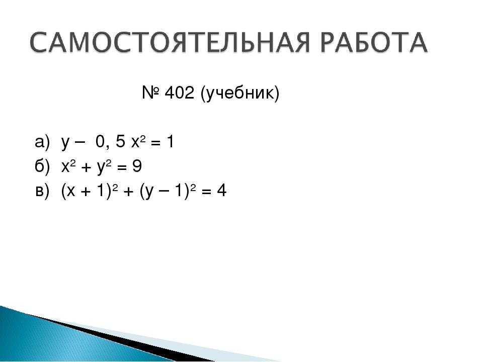№ 402 (учебник)  а) у – 0, 5 х2 = 1 б) х2 + у2 = 9 в) (х + 1)2 + (у – 1)2 = 4