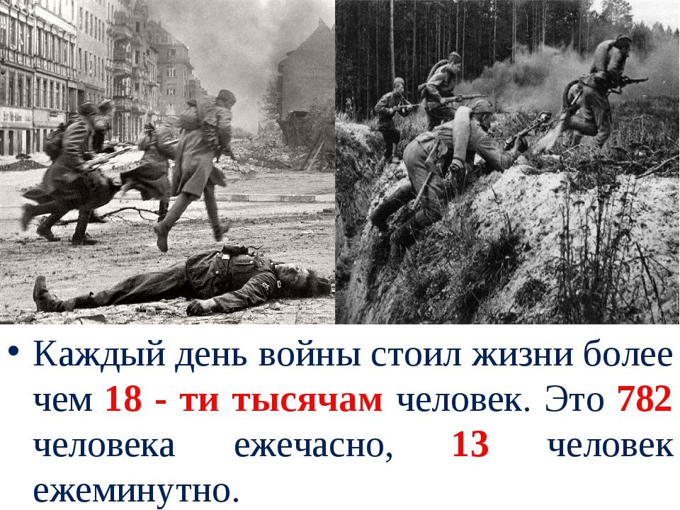 Каждый день войны стоил жизни более чем 18 - ти тысячам человек. Это 782 чело...