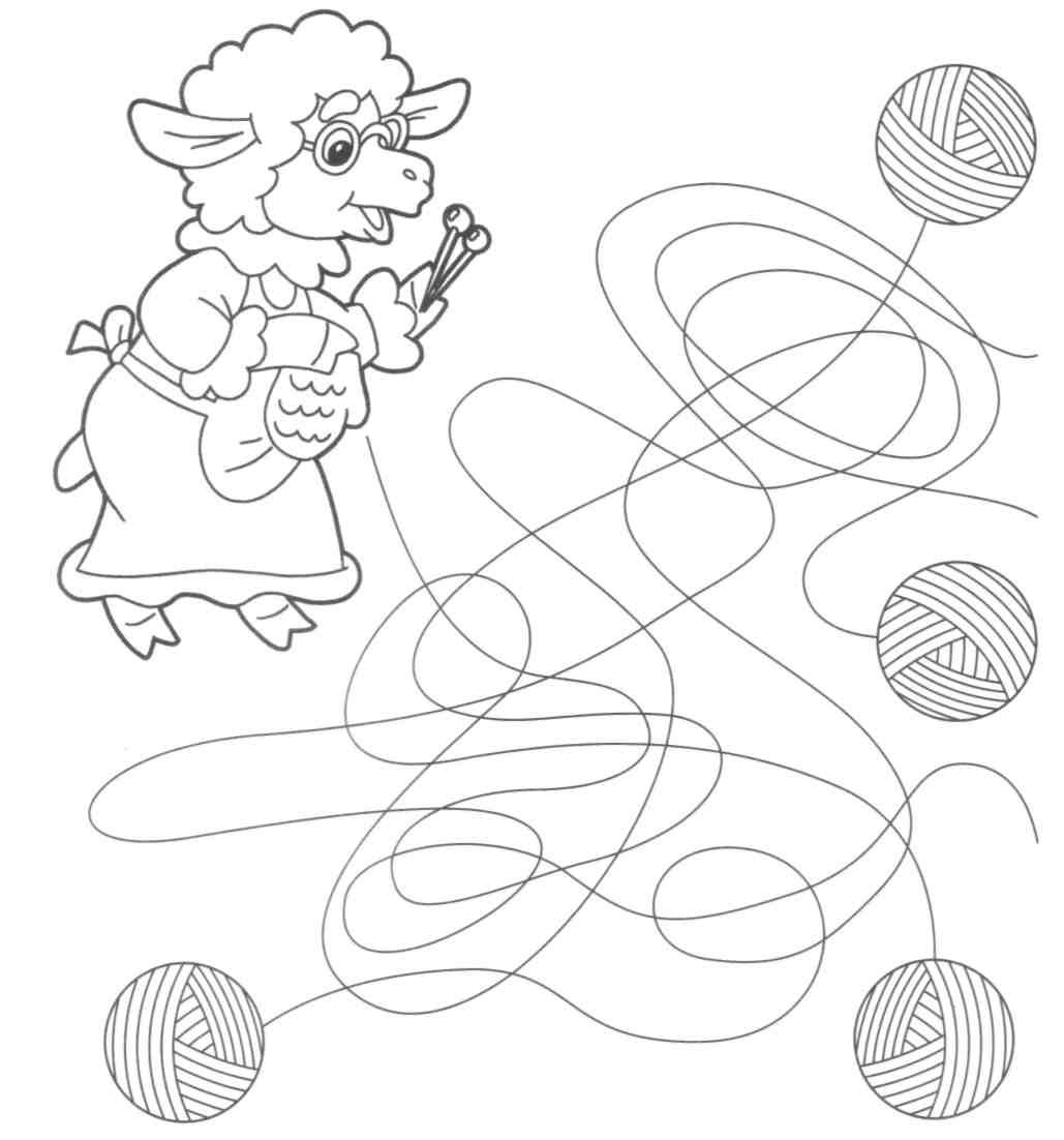 картинка дорисуй клубочек одна логических головоломок