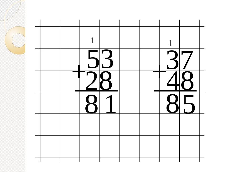 53 + 28 ___ 1 1 8 37 + 48 ___ 5 1 8