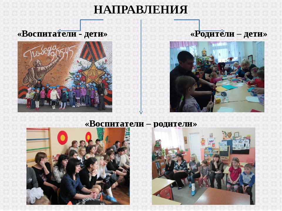 НАПРАВЛЕНИЯ «Воспитатели - дети» «Родители – дети» «Воспитатели – родители»