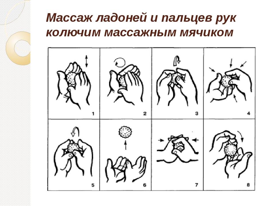 Массаж ладоней и пальцев рук колючим массажным мячиком