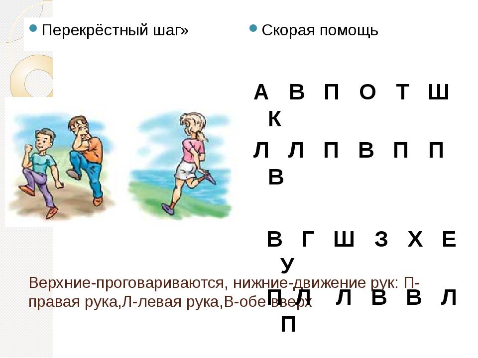 Верхние-проговариваются, нижние-движение рук: П-правая рука,Л-левая рука,В-об...