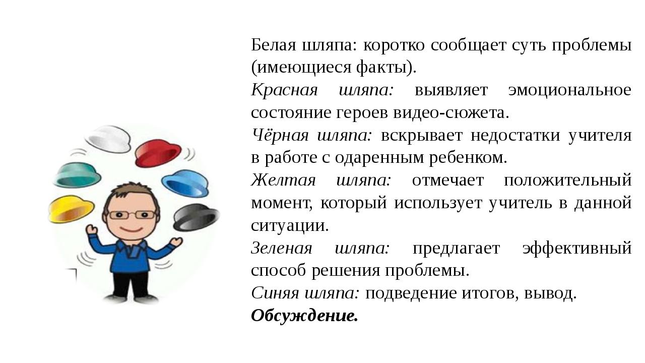 Белая шляпа: коротко сообщает суть проблемы (имеющиеся факты). Красная шляпа:...