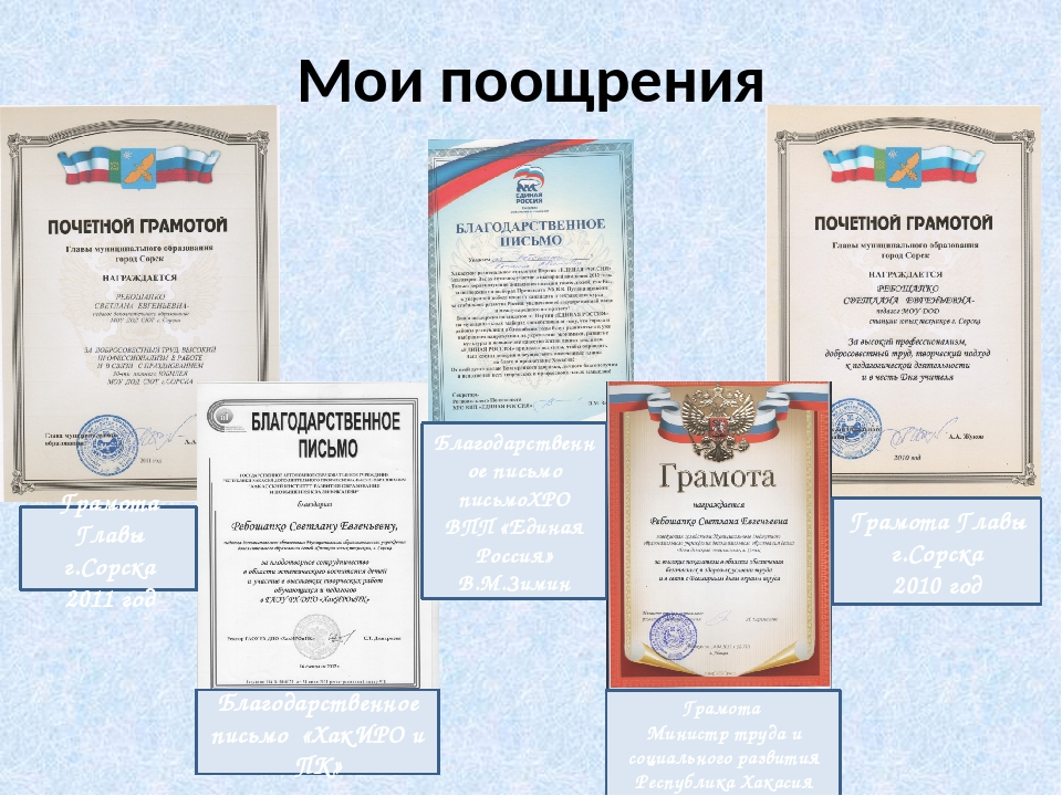 Мои поощрения Грамота Главы г.Сорска 2011 год Благодарственное письмо письмоХ...