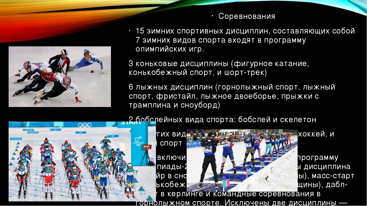 Соревнования 15 зимних спортивных дисциплин, составляющих собой 7 зимних видо...