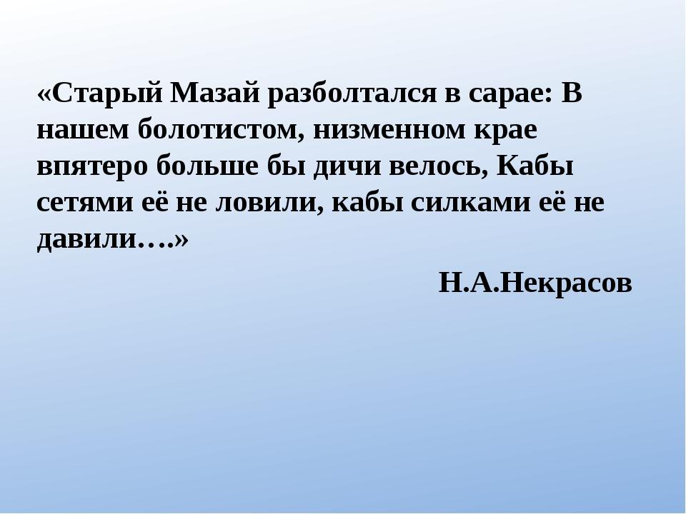 «Старый Мазай разболтался в сарае: В нашем болотистом, низменном крае впятеро...