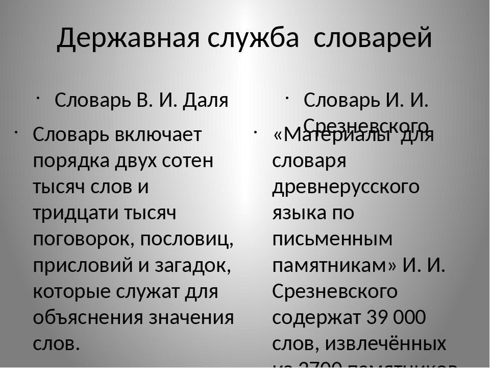 Державная служба словарей Словарь В. И. Даля Словарь включает порядка двух со...