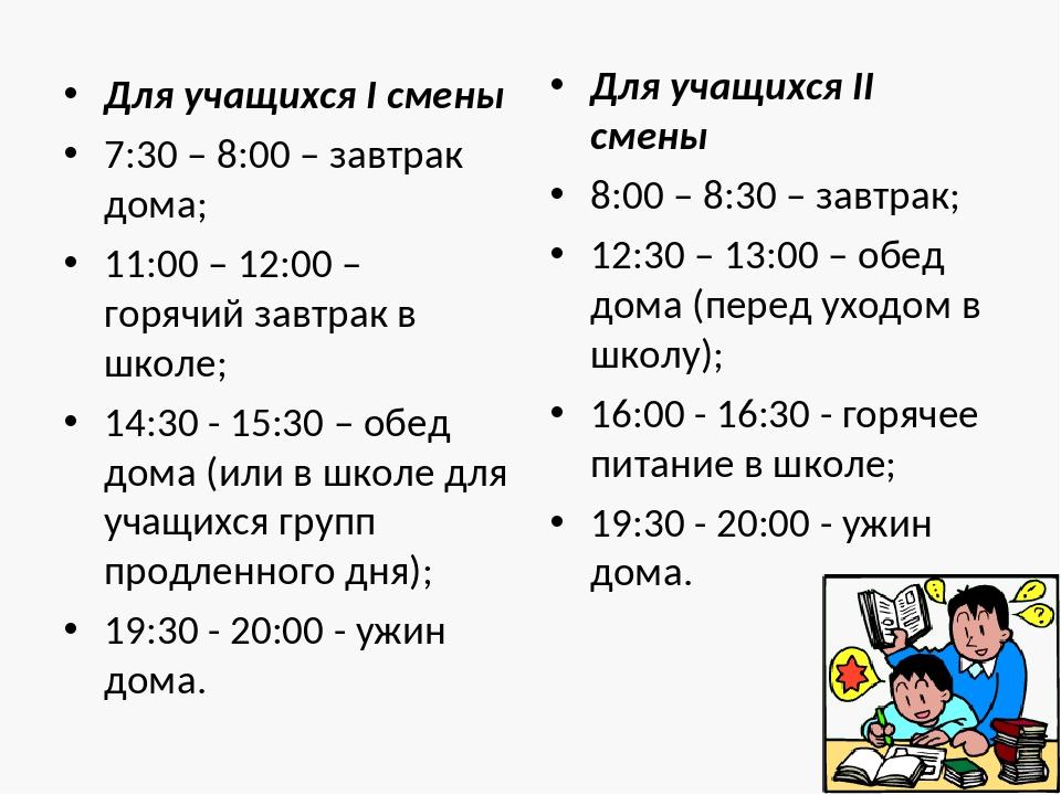Для учащихся I смены 7:30 – 8:00 – завтрак дома; 11:00 – 12:00 – горячий завт...