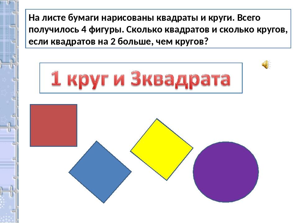 На листе бумаги нарисованы квадраты и круги. Всего получилось 4 фигуры. Сколь...