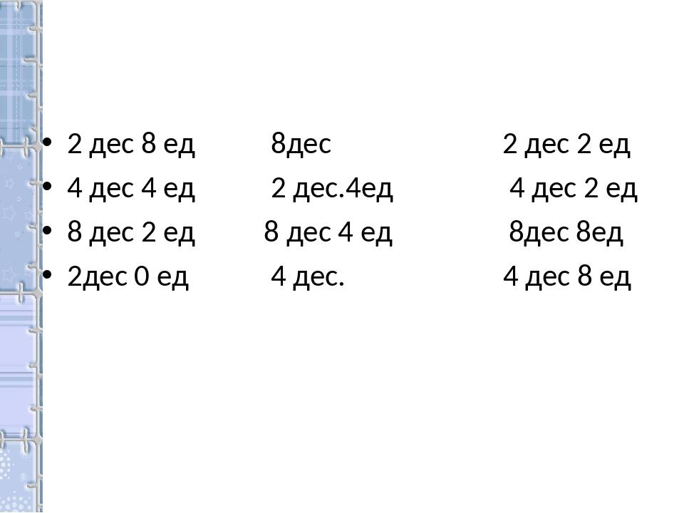 2 дес 8 ед 8дес 2 дес 2 ед 4 дес 4 ед 2 дес.4ед 4 дес 2 ед 8 дес 2 ед 8 дес 4...