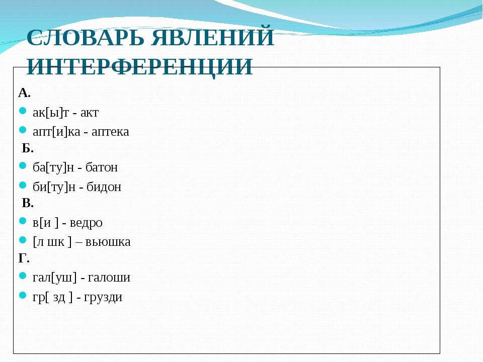 СЛОВАРЬ ЯВЛЕНИЙ ИНТЕРФЕРЕНЦИИ  А. ак[ы]т - акт апт[и]ка - аптека Б. ба[ту]н...