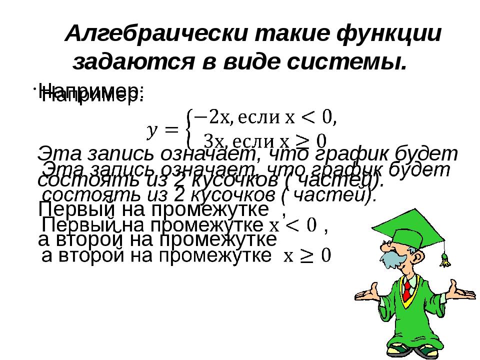 Алгебраически такие функции задаются в виде системы. 1-4 щелчки анимации, 5...
