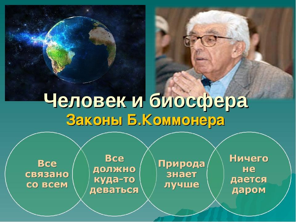 Человек и биосфера Законы Б.Коммонера