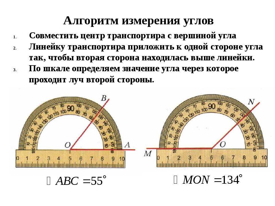 Алгоритм измерения углов Совместить центр транспортира с вершиной угла Линейк...