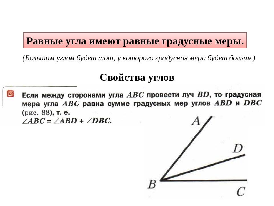 Равные угла имеют равные градусные меры. (Большим углом будет тот, у которого...