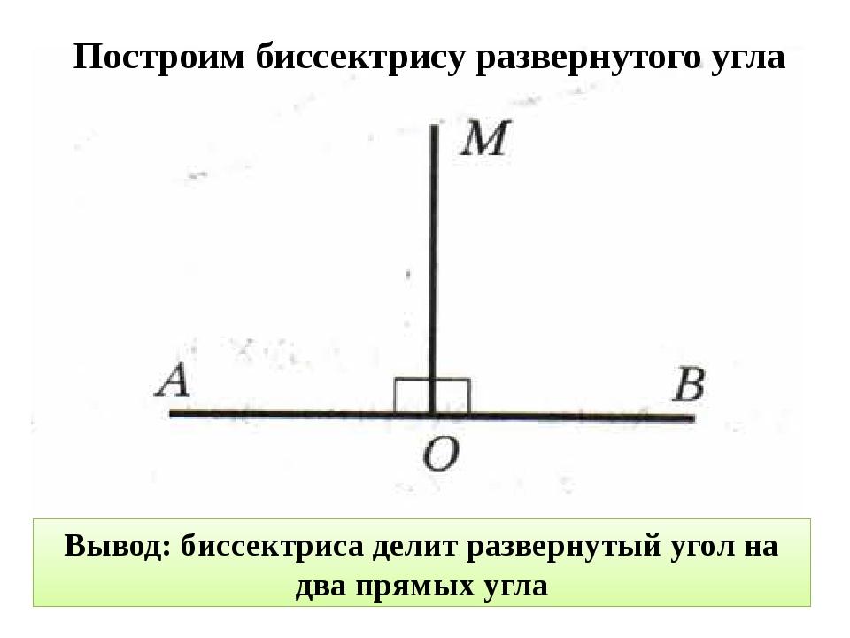 Построим биссектрису развернутого угла Вывод: биссектриса делит развернутый у...