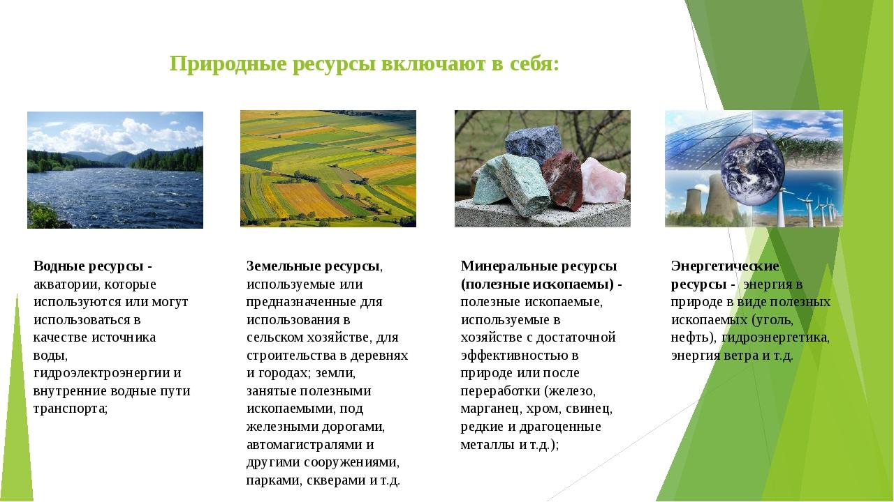 Природные ресурсы включают в себя: Водные ресурсы - акватории, которые исполь...