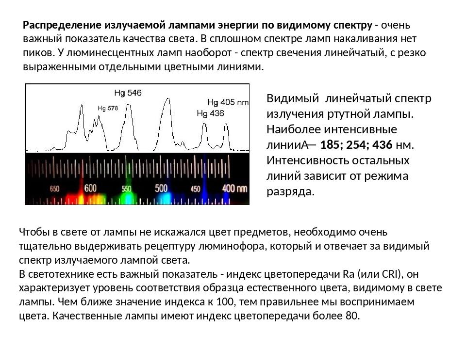 Распределение излучаемой лампами энергии по видимому спектру - очень важный п...
