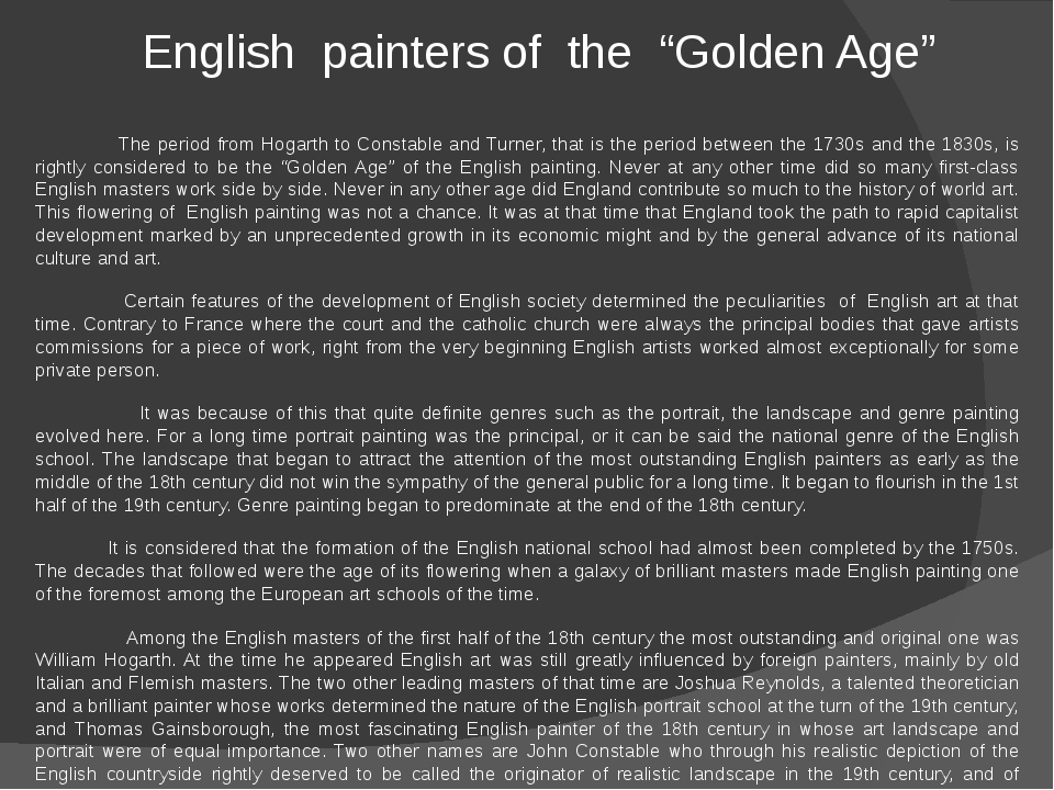 """English painters of the """"Golden Age""""  The period from Hogarth to Constable..."""