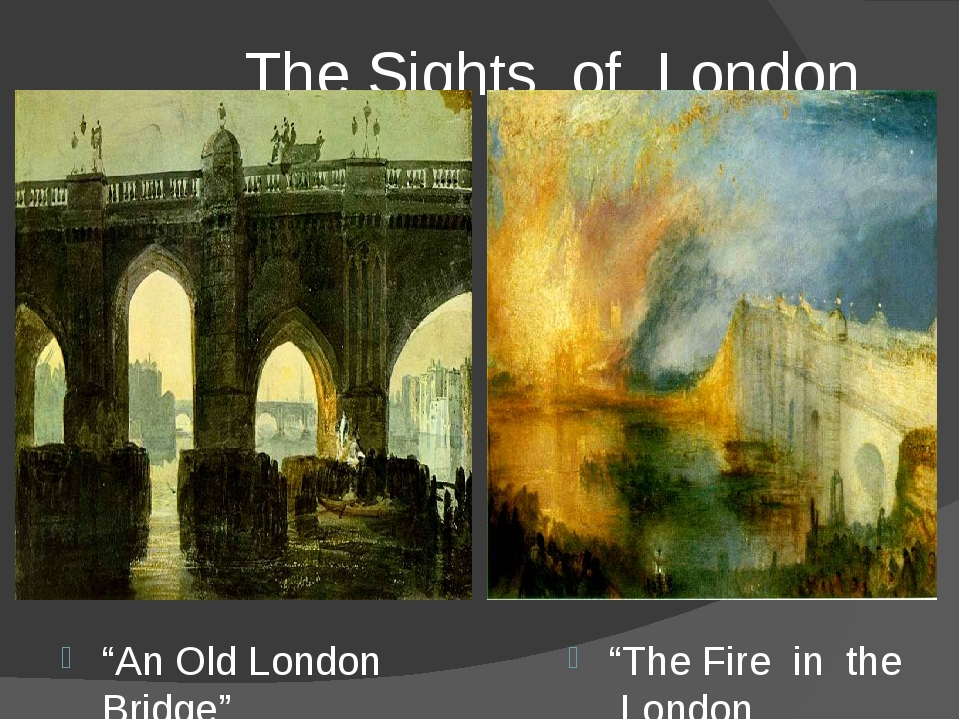 """The Sights of London """"An Old London Bridge"""" """"The Fire in the London Parliame..."""