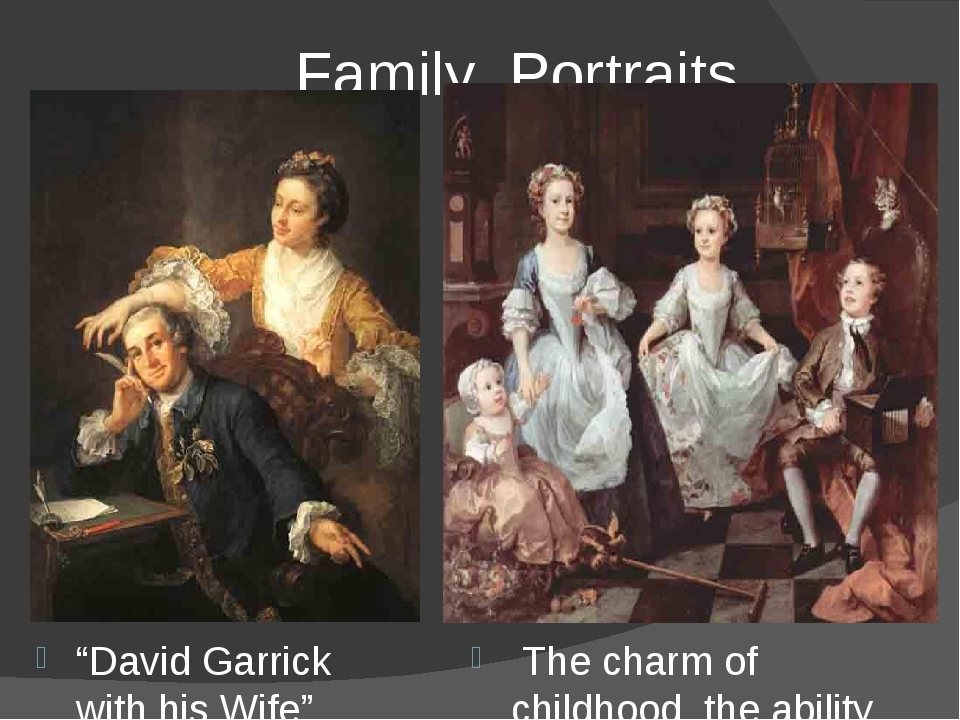 """Family Portraits """"David Garrick with his Wife"""" The charm of childhood, the a..."""