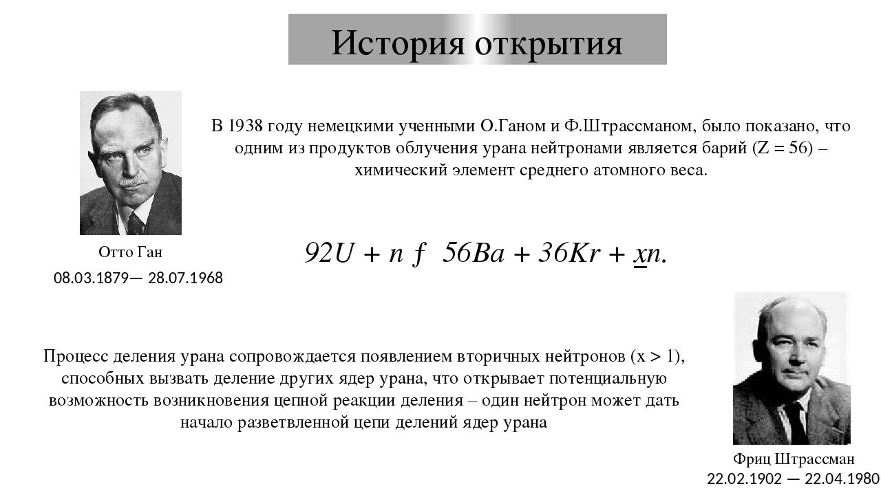 Деление ядра урана