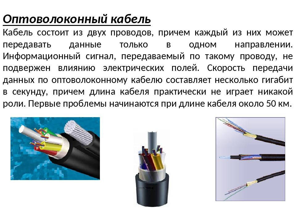 Оптоволоконный кабель Кабель состоит из двух проводов, причем каждый из них м...