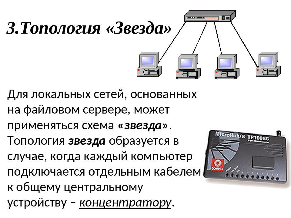 3.Топология «Звезда» Для локальных сетей, основанных на файловом сервере, мож...