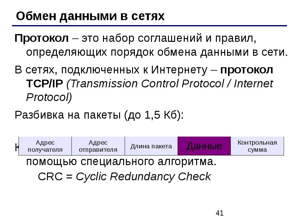 Обмен данными в сетях Протокол – это набор соглашений и правил, определяющих...