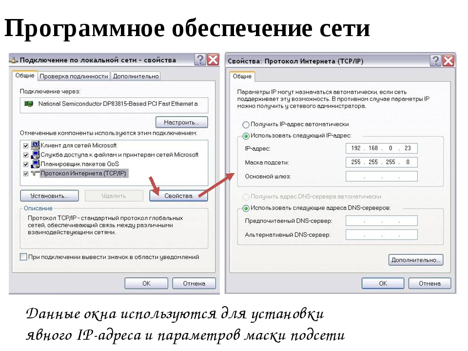 Программное обеспечение сети Данные окна используются для установки явного IP...