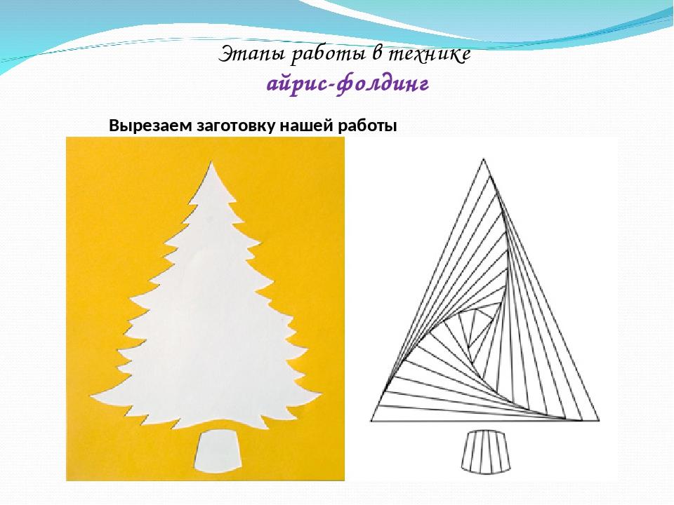 Открытки в технике айрис фолдинг шаблоны и схемы елка, вектор