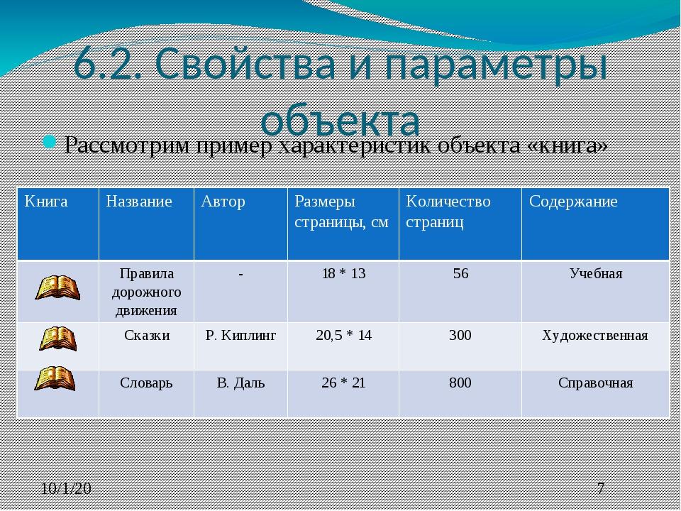 6.2. Свойства и параметры объекта Рассмотрим пример характеристик объекта «кн...