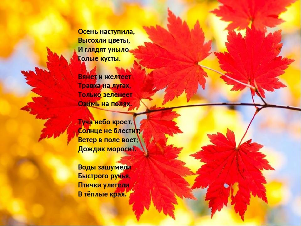 прежде картинки к стихотворению осень наступила изготовленный своими руками