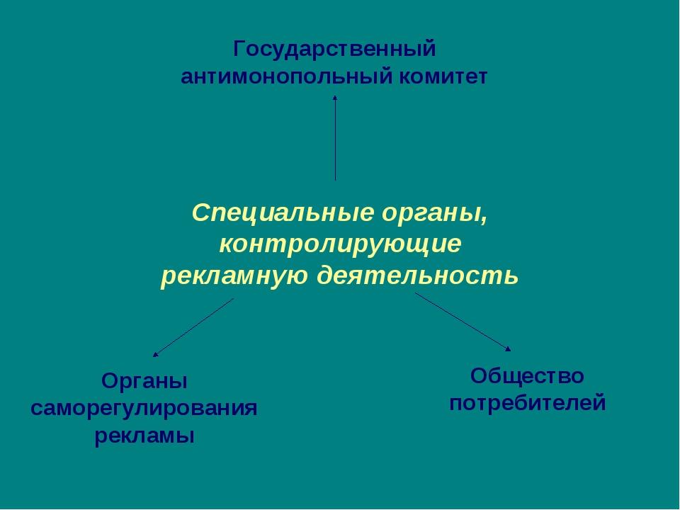 Специальные органы, контролирующие рекламную деятельность Органы саморегулиро...
