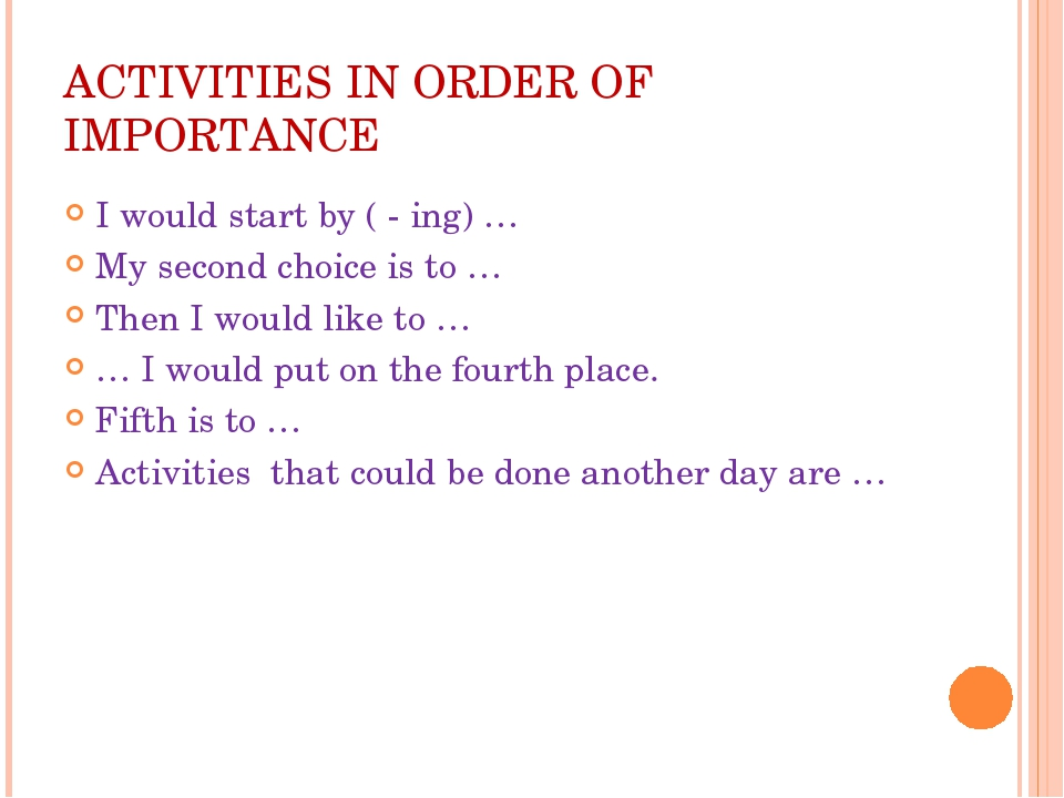 ACTIVITIES IN ORDER OF IMPORTANCE I would start by ( - ing) … My second choic...