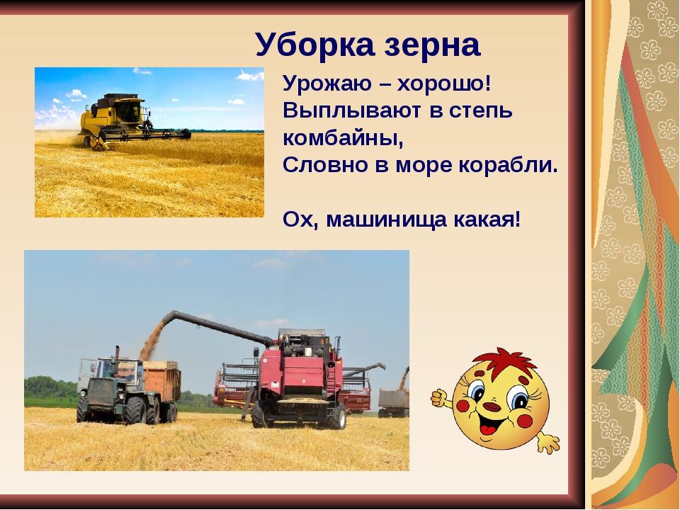 Уборка зерна Урожаю – хорошо! Выплывают в степь комбайны, Словно в море кора...