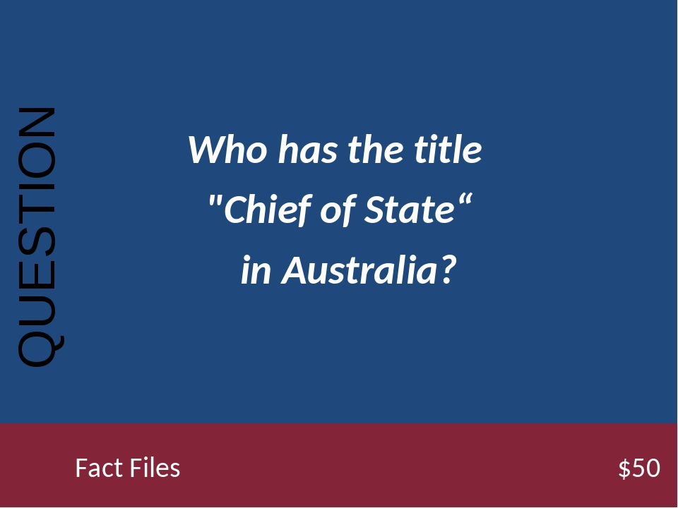 """Who has the title """"Chief of State"""" in Australia? QUESTION Fact Files..."""