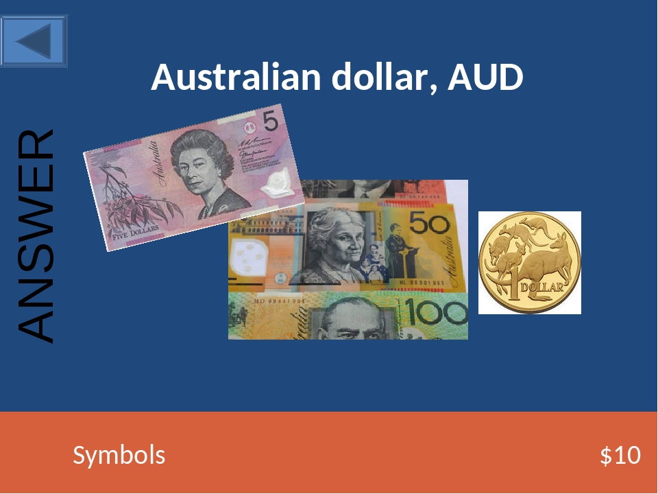 Australian dollar, AUD Symbols $10 ANSWER