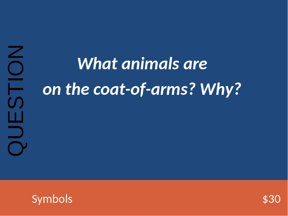 What animals are on the coat-of-arms? Why? QUESTION Symbols$30