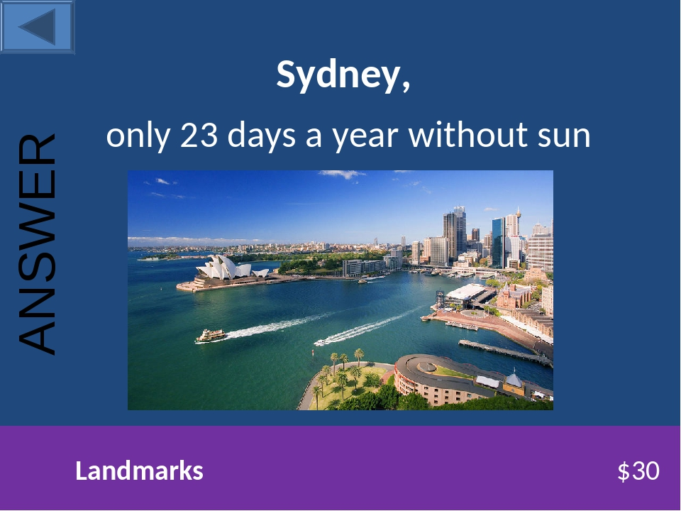 Sydney, only 23 days a year without sun Landmarks $30 ANSWER