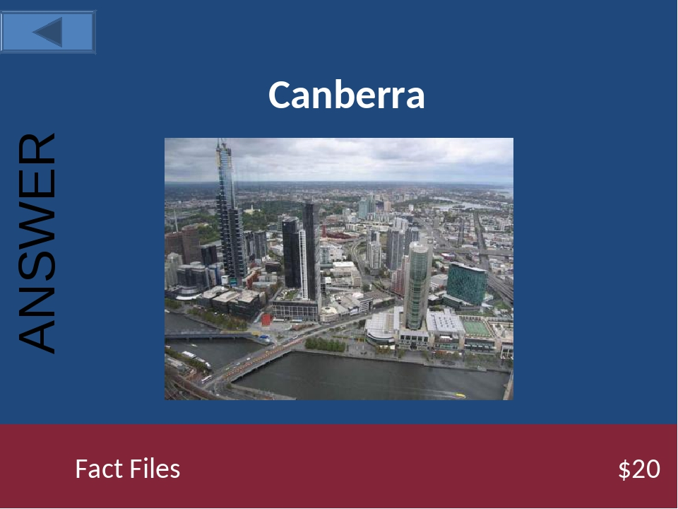 Canberra Fact Files $20 ANSWER