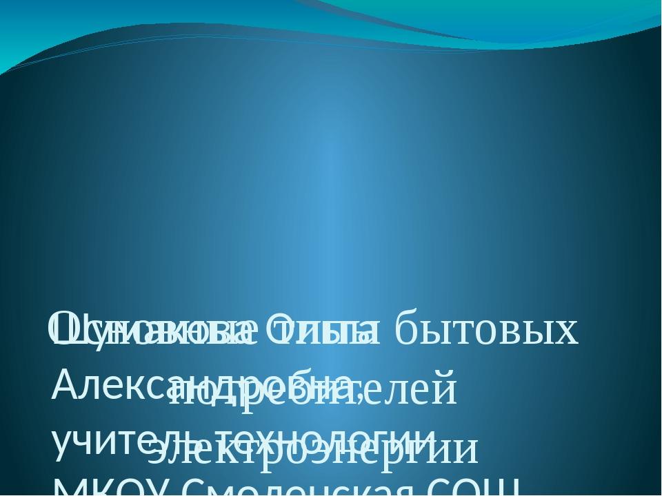 Основные типы бытовых потребителей электроэнергии Шумакова Ольга Александров...