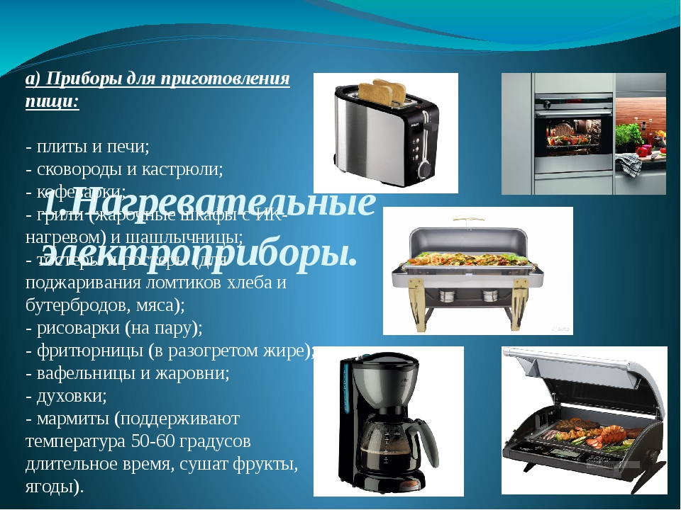 1.Нагревательные электроприборы. а) Приборы для приготовления пищи: - плиты...