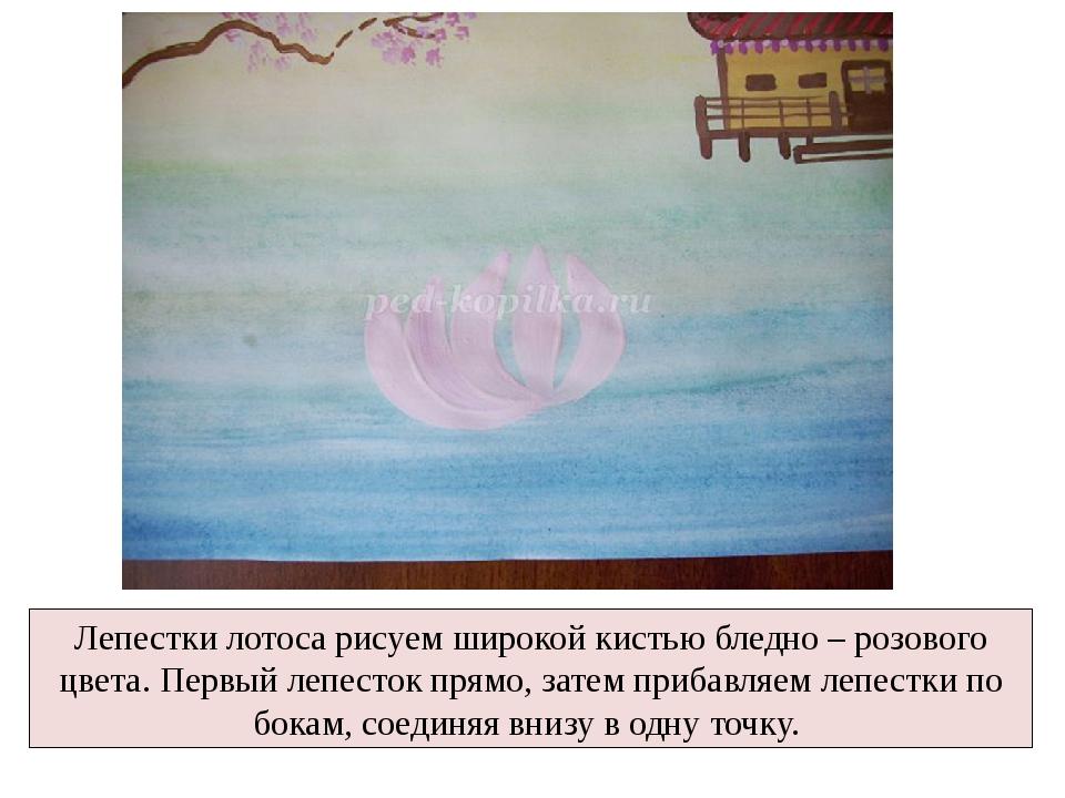 Лепестки лотоса рисуем широкой кистью бледно – розового цвета. Первый лепесто...