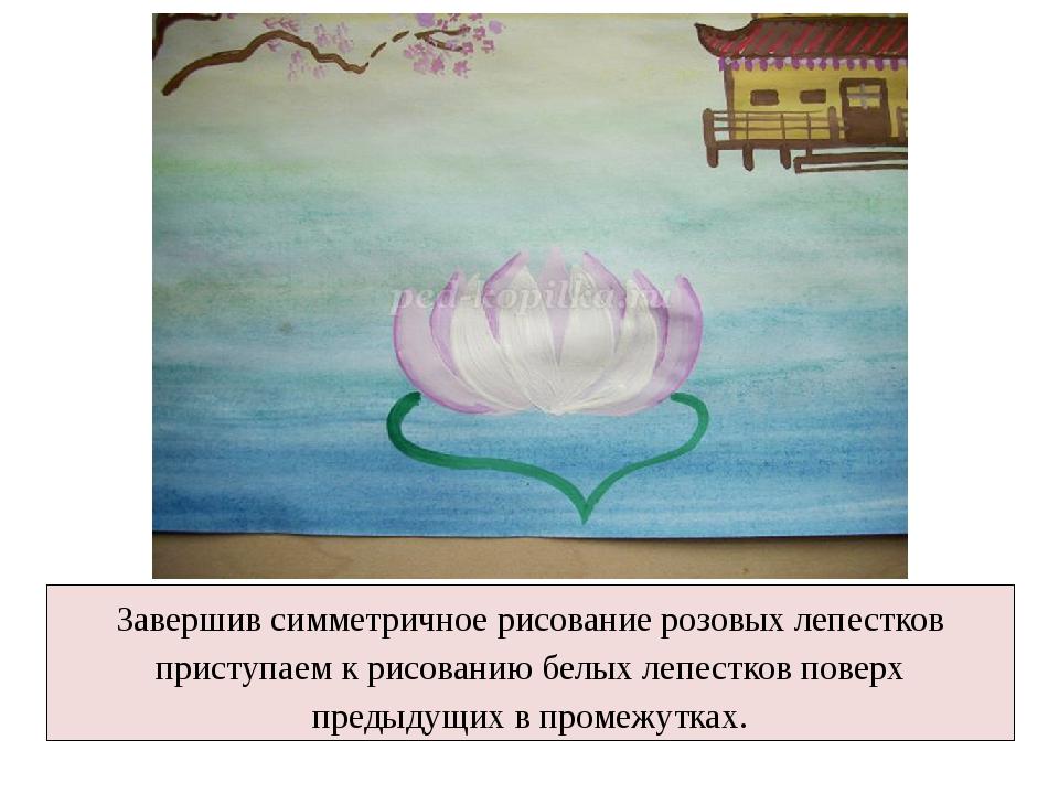 Завершив симметричное рисование розовых лепестков приступаем к рисованию белы...