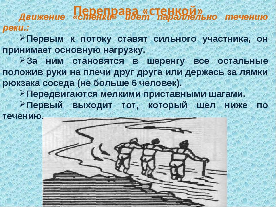 Переправа «стенкой» Движение «стенки» идет параллельно течению реки.: Первым...